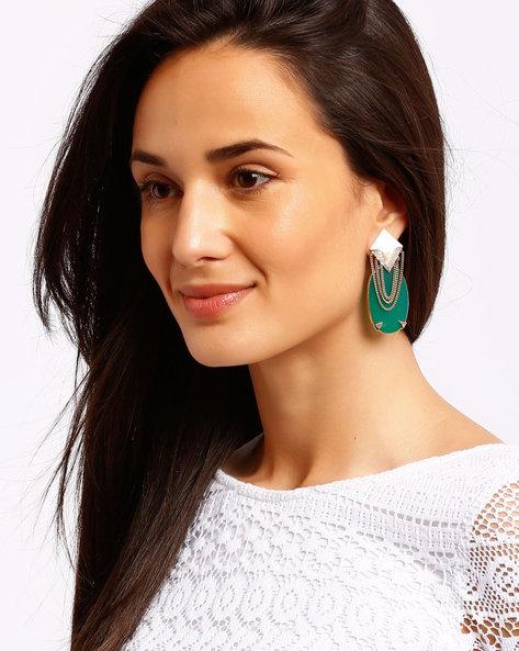 Gold-Plated Drop-Earrings By Ssoul ( Darkgreen )