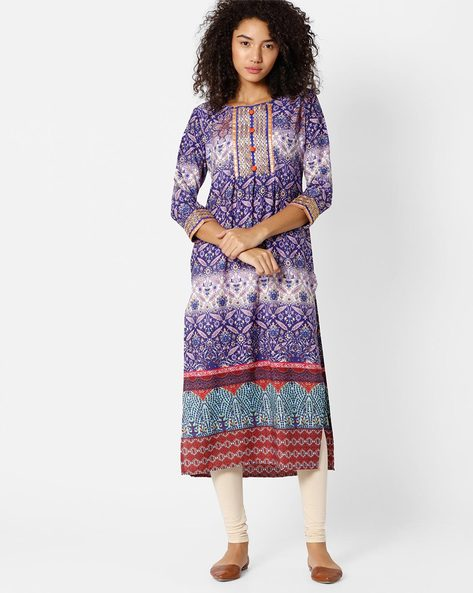 Printed Straight Kurta By Indian Ink ( Purple )