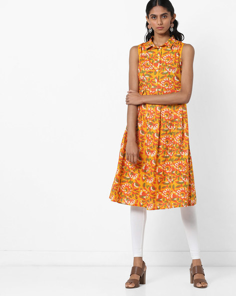 Floral Print Sleeveless Shirt Kurta By AJIO ( Mustard )