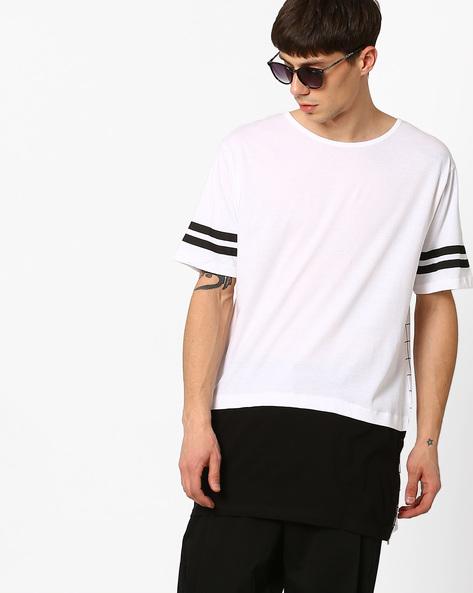 Slim Cut & Sew Longline T-shirt By ADAMO LONDON ( Multi )