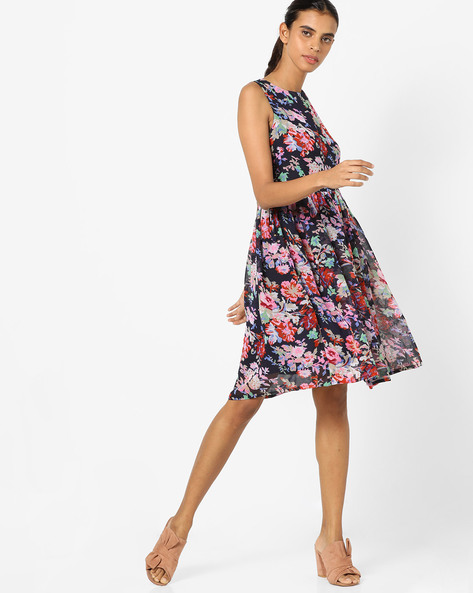 Floral Print Fit & Flare Dress By AJIO ( Navy )