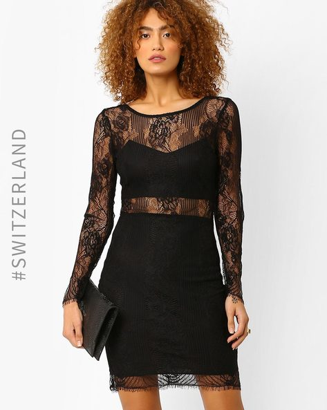 Lace Bodycon Dress By TALLY WEiJL ( Black )