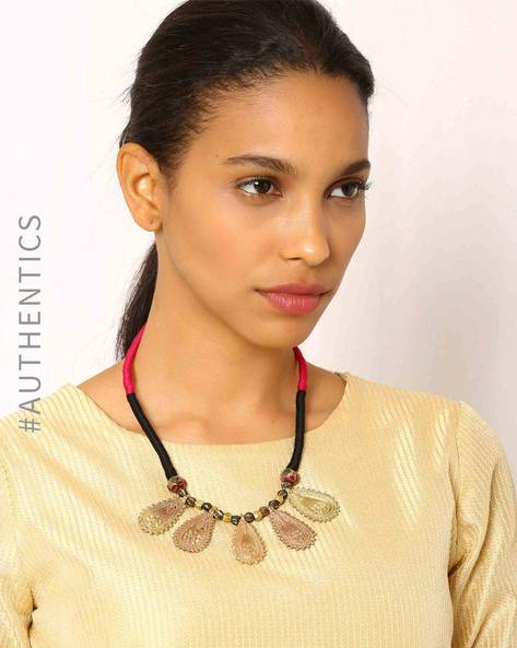 Handcrafted Dhokra Brass Necklace By Indie Picks ( Multi )