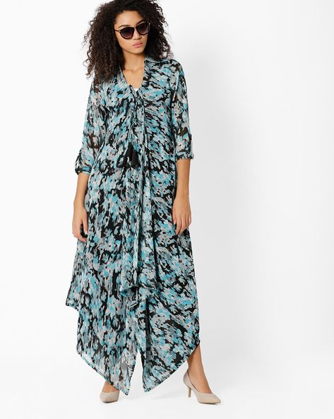 Printed High-Low Maxi Dress By Shakumbhari ( Blue )