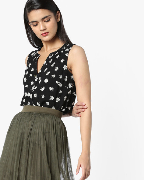 Printed Sleeveless Top By Vero Moda ( Black ) - 440818804003