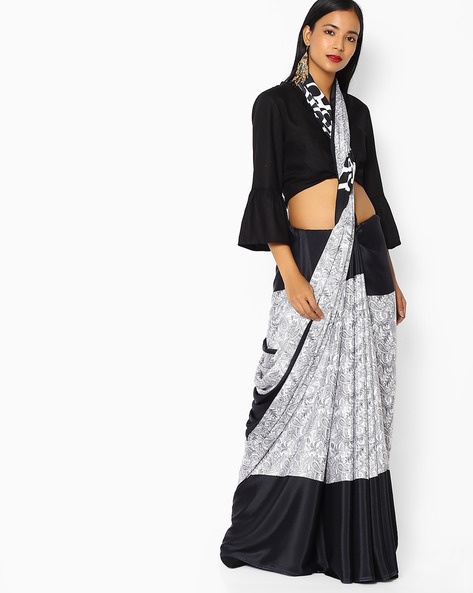Paisley Print Crepe Saree With Blouse By Majestic Silk ( Black )