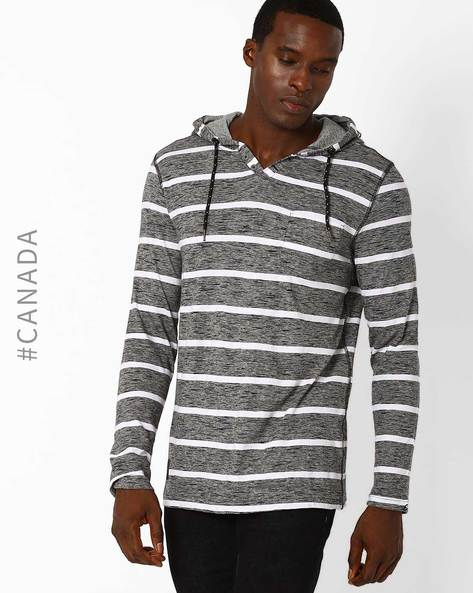Striped T-shirt With Hood By Point Zero ( Black )