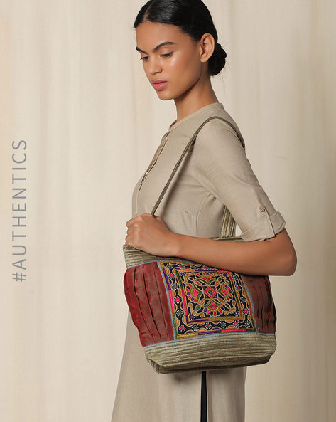 Kutch Ahir Hand Embroidery Shoulder Bags By Indie Picks ( Grey )