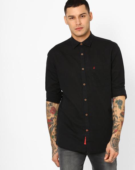 Slim Fit Cotton Shirt By British Club ( Black )