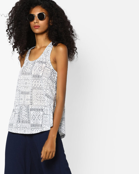 Printed Racerback Tank Top By Ginger By Lifestyle ( White )