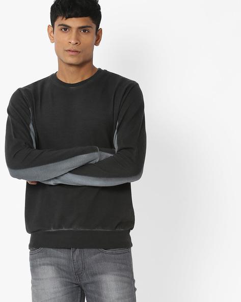 Lightly Washed Crew-Neck Sweatshirt By Blue Saint ( Navyblue )