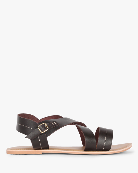 Genuine Leather Sandals With Criss-Cross Upper By AJIO ( Brown )