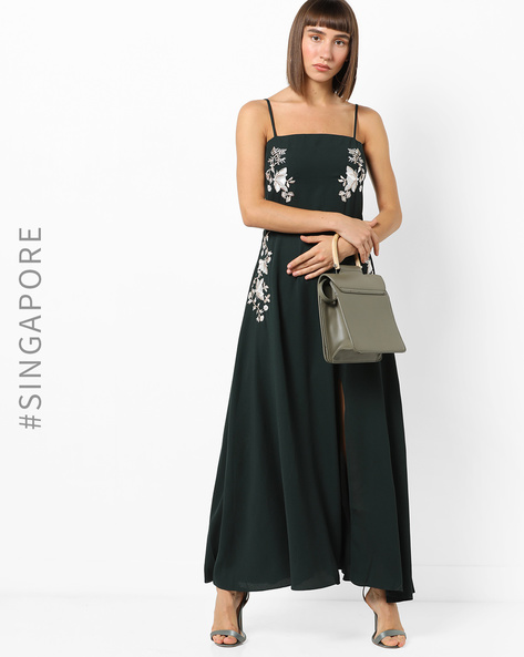Strappy Maxi Dress With Placement Embroidery By MDS ( Green )
