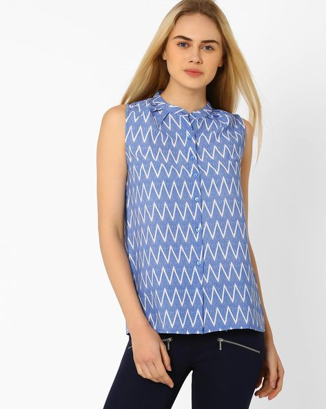 Chevron Print Top With Mandarin Collar By CHM ( Blue )