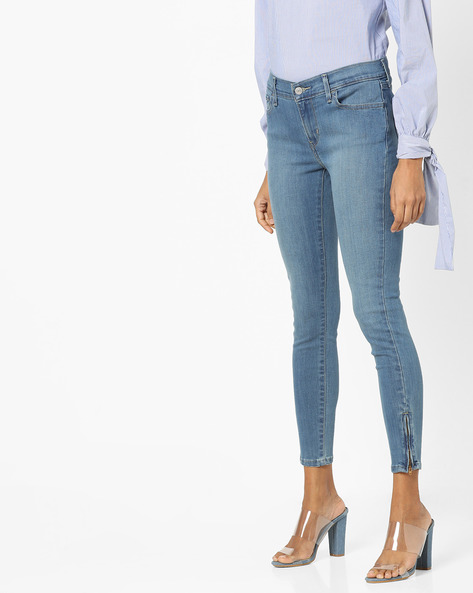 Super Skinny Cropped Jeans By LEVIS ( Blue )