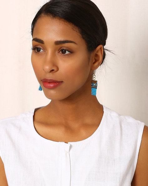 Beaded Drop-Earrings With Tassels By Indie Picks ( Blue )