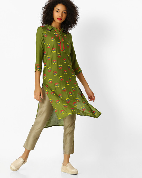 Straight Kurta With Shirt Collar By Aaboli ( Olive )