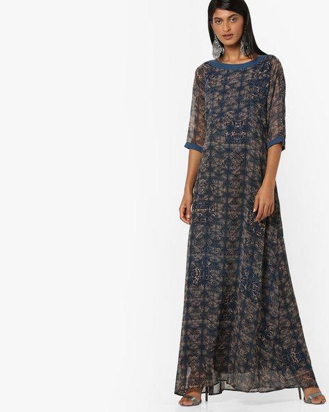 All-Over Print A-line Maxi Dress By Aujjessa ( Navyblue )