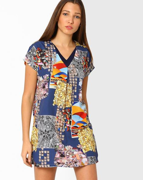 Printed V-neck Shift Dress By Lotus Threads ( Multi )