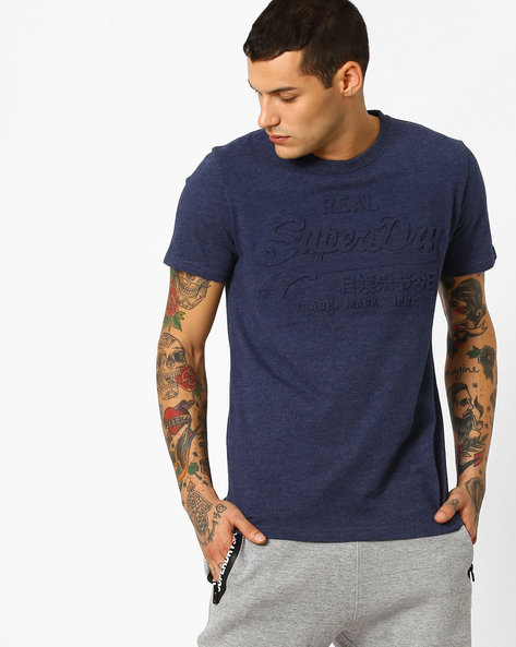 Embossed Crew-Neck T-shirt By SUPERDRY ( Bcy )