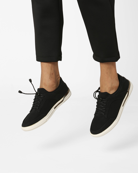 Low-Top Lace-Up Sneakers By AERO BLUEZ ( Black ) - 460090043007