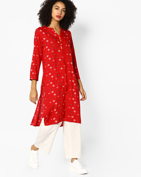 Printed Straight Kurta With Mandarin Collar By Melange By Lifestyle ( Red )