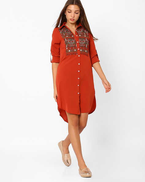 Embroidered Tunic With High-low Hem By Rena Love ( Red )