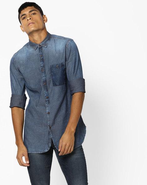 Self-Striped Shirt With Patch Pocket By AJIO ( Indigo )