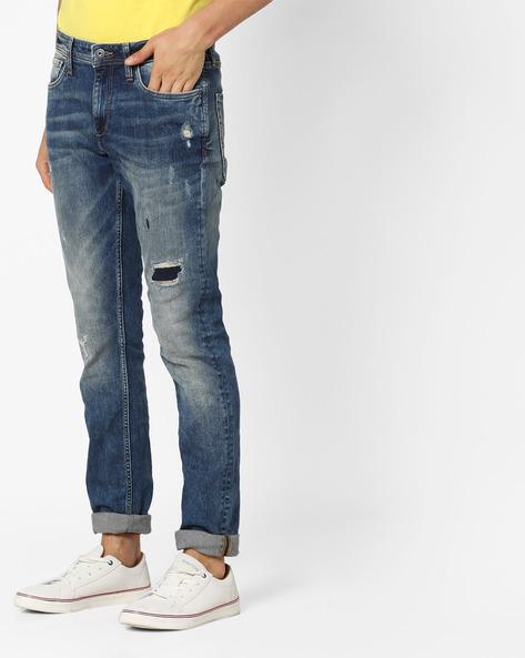 Ji Ben Ry 1420 Mid-Washed Distressed Jeans By Jack & Jones ( Blue )