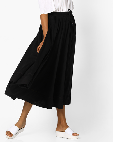 Flared Skirt With Drawstring Fastening By PE IW Casual ( Black )