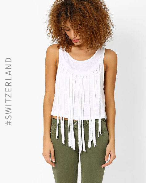 Sleeveless Top With Fringes By TALLY WEiJL ( White )
