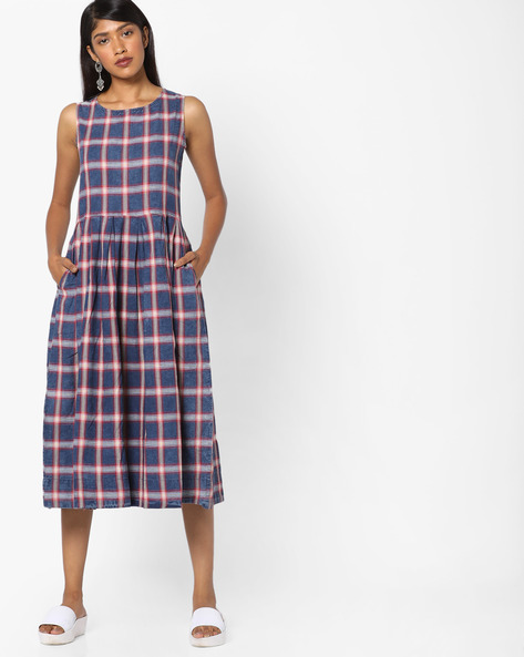 Checked Fit & Flare Midi Dress By Tokyo Talkies ( Multi )