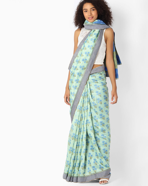 Printed Saree With Contrast Border By VIPUL ( Lightgreen )