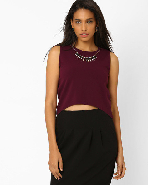 Crop Top With Detachable Neckpiece By AJIO ( Purple )