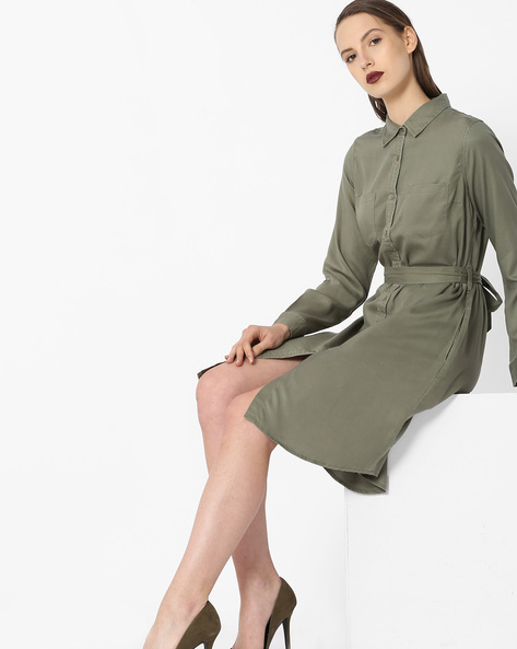 Shirt Dress With Tie-Up By Project Eve WW Casual ( Olive )