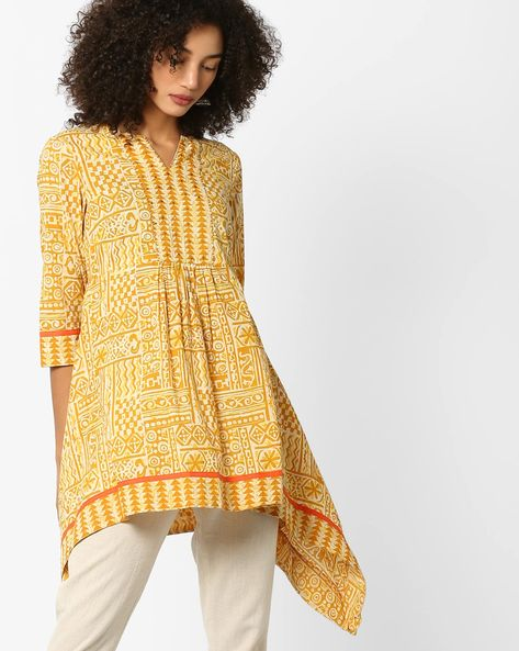 Printed Kurta With Handkerchief Hem By AJIO ( Yellow )