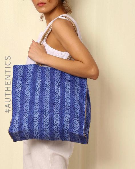 Sanganeri Handblock Print Cotton Jute Handbag By Awdhesh Kumar ( Indigo ) - 460052404001