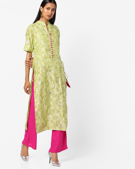 Floral Print Straight Kurta With Palazzo Pants By Jaipur Kurti ( Green )