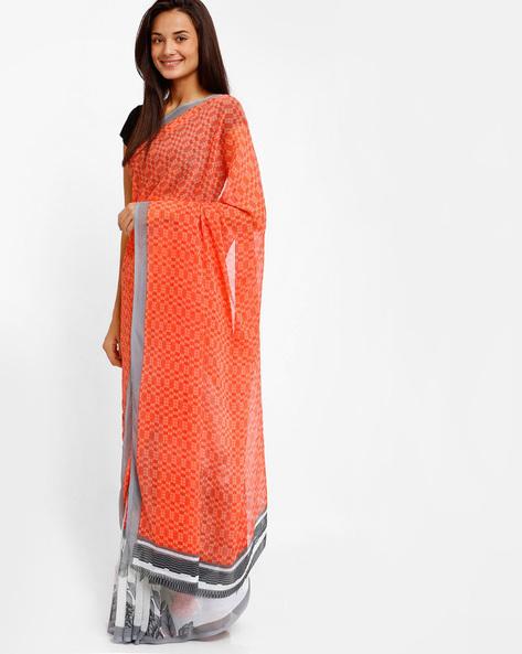Printed Chiffon Saree By Lookslady ( Orange )