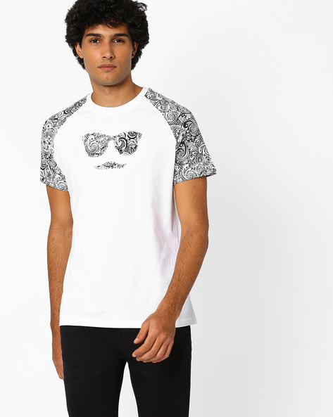 Crew-Neck T-shirt With Printed Raglan Sleeves By Garcon ( White )