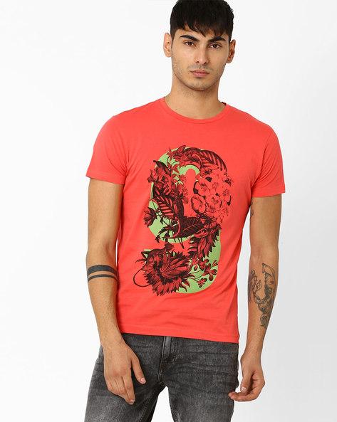 Slim Fit Crew-Neck T-shirt By ADAMO LONDON ( Orange )