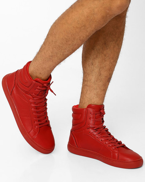 Faux Leather Mid-Top Sneakers By AJIO ( Red )