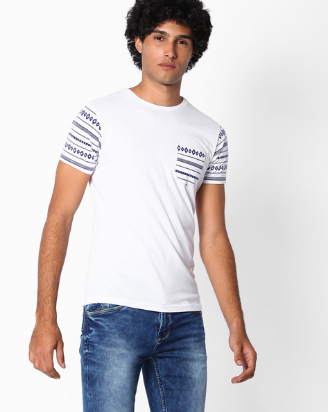 Slim Fit T-shirt With Printed Sleeves By The Indian Garage Co ( White )