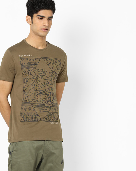 Graphic Print T-shirt By AJIO ( Olive ) - 460129703012
