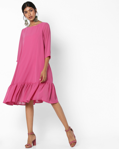 Boat-Neck Shift Dress With Flounce Hem By AJIO ( Purple )