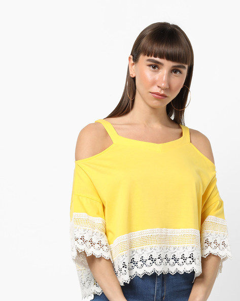 Cold-Shoulder Top With Lace Overlays By AJIO ( Yellow )