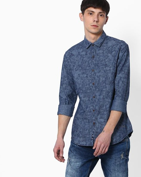 Floral Print Slim Fit Shirt By NETPLAY ( Darkblue )
