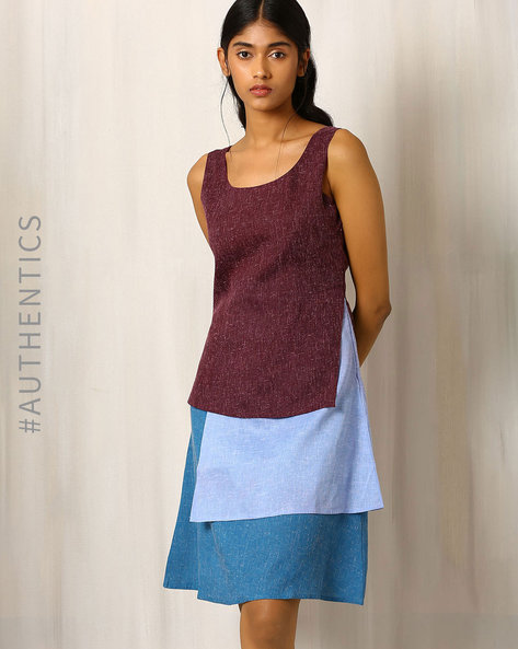 Textured Layer Cake Khadi Cotton Dress By Red Sister Blue ( Purple )