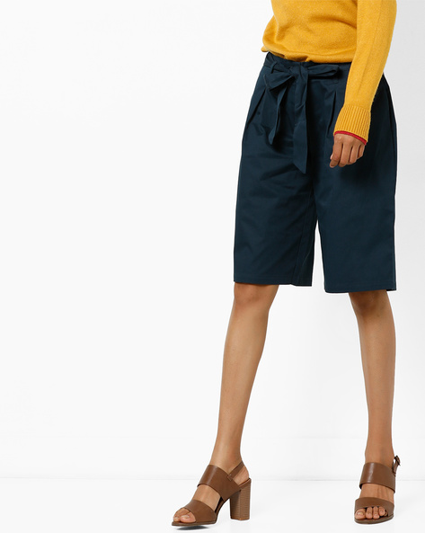Pleated Culottes With Front Tie-Up By AJIO ( Teal )