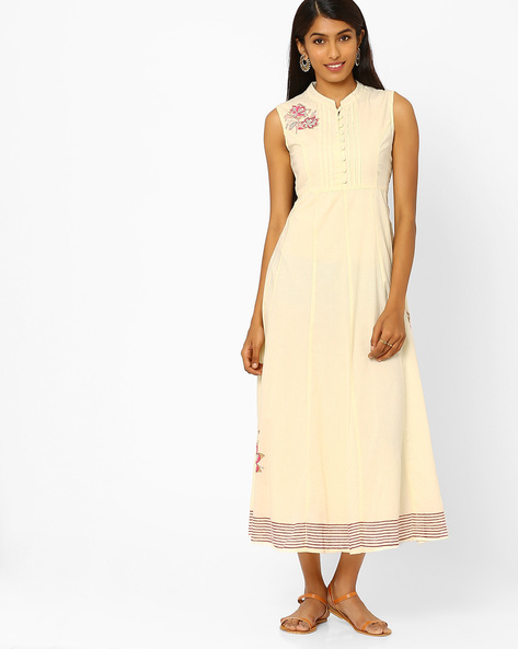 Sleeveless Maxi Dress By AJIO ( Offwhite )